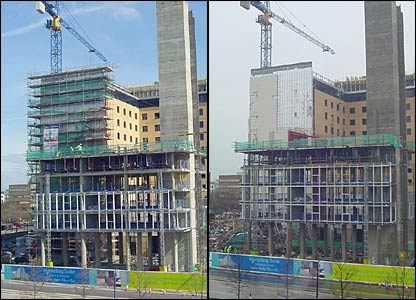 Before and after shots of the scaffolding collapse in Milton Keynes. Photos by Paul Eastman