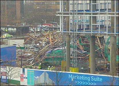 The scene of the collapsed scaffolding in Milton Keynes - picture by Paul Eastman