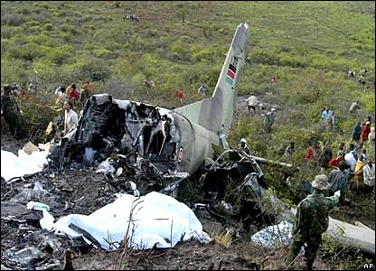 The site where a military plane crashed near Marsabit, northern Kenya.