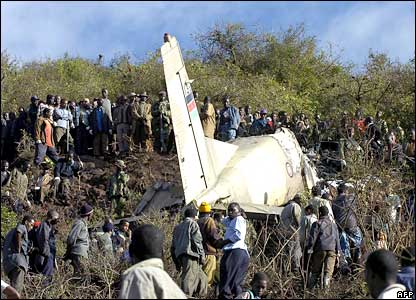 Rescue workers and onlookers at the site where a military plane crashed near Marsabit, northern Kenya.