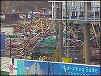 Wreckage of scaffolding