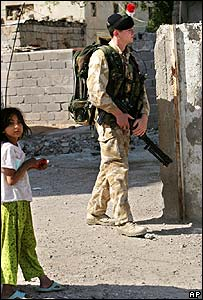 British soldier on patrol in Basra