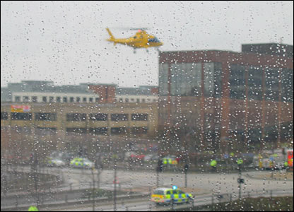 An emergency services helicopter arrives at the scene of the scaffolding collapse in Milton Keynes, picture by Steve Harding.