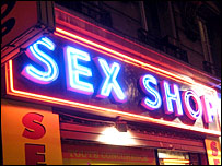 A sign for a sex shop
