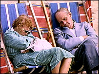 Asleep on deckchairs