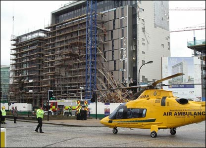 The site of the hotel scaffolding collapse in Milton Keynes - picture by Tony Waskowycz