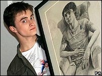 Daniel Radcliffe with his portrait