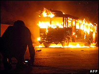 Passenger bus set alight in Karachi