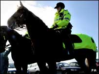 Mounted police on patrol in west Belfast