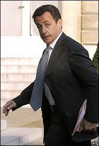 Nicolas Sarkozy at the Elysee Palace on 10 April
