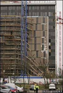 Collapsed scaffolding at the Milton Keynes site