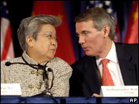 Chinese Vice-Premier Wu Yi, left, and US Trade Representative Rob Portman