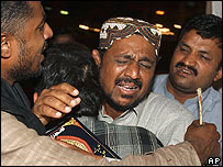 A mourner after a bomb explosion in Karachi