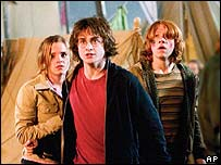 Daniel Radcliffe (centre) in a scene from Harry Potter and the Goblet of Fire