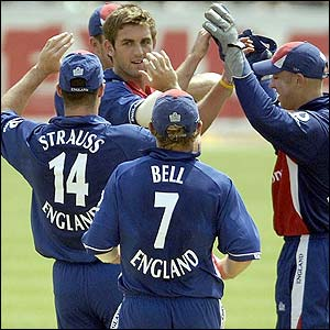 Liam Plunkett is congratulated after dismissing Yuvraj Singh