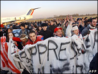 Some 150 people demonstrate at Nantes airport, western France, calling for more jobs