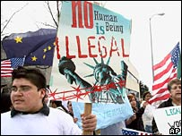 """Protest poster saying """"No human being is illegal"""", Alaska"""
