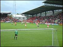 The Kop stand - far end in this photograph - at the Racecourse