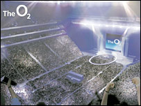 an artist's impression of the new inside of the Millennium Dome, now called The O2