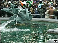 Green water in the fountains at Trafalgar Square on St Patrick's Day