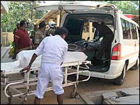 A blast victim is taken to hospital in Trincomalee
