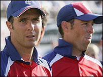 Michael Vaughan (L) and Marcus Trescothick