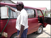 A kombi and driver in Zimbabwe