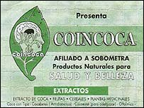 Ad for coca-based products, with a coca-leaf illustration (image courtesy Jacek Zoch)