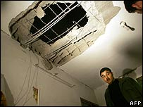 Bomb damage from an Israeli raid on a Fatah office in Gaza City on 12 April
