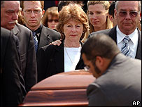 Lynne Pitney, centre, wife of singer Gene Pitney, at his funeral in Connecticut