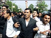 Protesting lawyers in Kathmandu