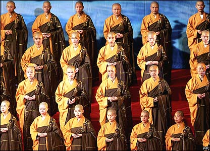 Monks participate in the opening ceremony