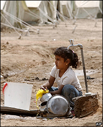 Iraqi girl at camp for displaced people at Diwaniya south of Baghdad