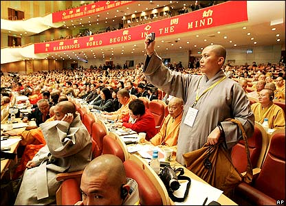 Monks participating in the forum