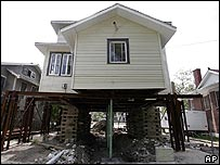 A house in New Orleans which has been raised an additional seven feet