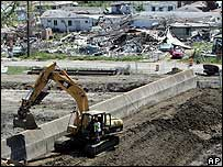 Work on the rebuilding of the damaged levee in the Lower Ninth Ward in New Orleans