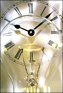 Light bulb in front of a clock