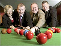 The BBC team of Hazel Irvine, Steve Davis, Dennis Taylor and Ray Stubbs