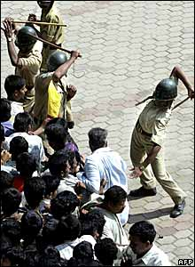 Police used batons to control the crowd that came to pay homage to Rajkumar