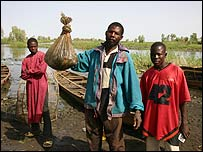 Fisherman Musa Niger and his day's catch