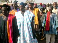 Elders arriving at the funeral in Yendi