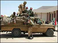 Soldiers in N'Djamena on Thursday