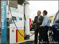 President Bush at a hydrogen fueling station (Getty Images)