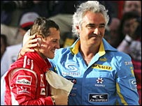 Michael Schumacher and Flavio Briatore at this year's Bahrain GP
