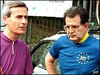 Marco Biagi, left, and Romano Prodi