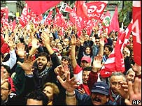 Italians at a labour rally