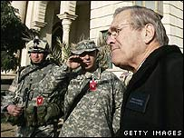 Donald Rumsfeld visiting troops in Iraq, December 2005