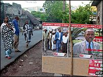 Campaign posters for the Comoros presidential elections