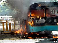 Bus set ablaze in Bangalore