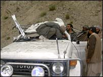 Damaged police vehicle in Khost attack